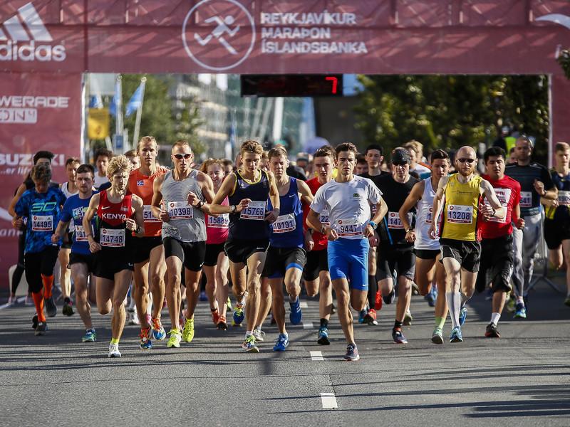 Marathon runners starting the race in street Lækjargata