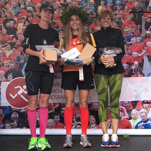 Prize winners in women's marathon